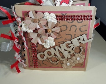 Premade Western Cowgirl Paperbag Scrapbook Album