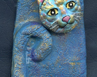 Polymer Clay  3  5/8 Inch  One of a Kind Abstract Cat 2 D  ABCAT 10