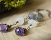 purple cubic zirconia, moonstone and labradorite - dangle earrings - sterling silver