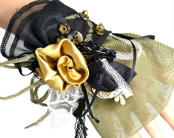 """Victorian """"Golden Rose"""" Wrist CUFF size medium Handmade Netting, Lace for Role play, Dress, Mystery Dinners, Steampunk Costume"""