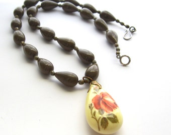 Romantic Floral Pendant Neckace Taupe Cocoa Acrylic Tear Drop Beads Romantic Rose Cabbage Rose Cream Coral Green