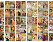 Vintage Advertising Digital Clip Art Collage Sheet - 50 Images - Jewelry, Magnets, Craft Projects, Scrapbooking