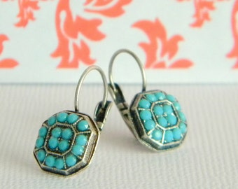 Antique Silver Turquoise Swarovski Victorian Style Lever back Earrings