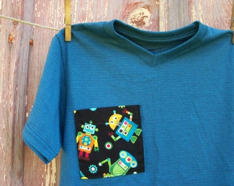 Child Size M 8 Teal T-Shirt with Robot Pocket
