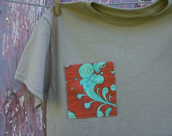 Child Size Medium 10/12 Tan T-Shirt with Monster Creature Pocket