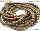 25% OFF Summer Sale 4mm Faceted Round Czech Glass Beads Opaque Red Umber Picasso 50 (G - 31)