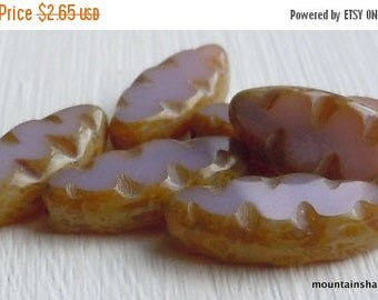 Fall Clearance Czech Glass Beads - 18mm Spindle Shaped - Opaque Amethyst Picasso - Czech Picasso Beads (G - 556)