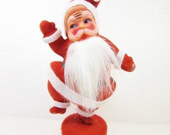 Vintage Flocked Plastic Santa Christmas Holiday Decoration Red Retro Bearded 9 Inch