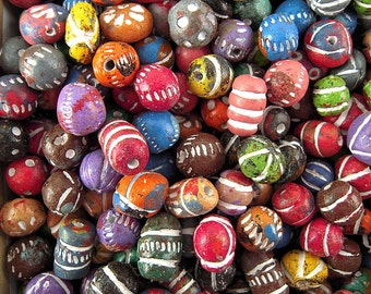 TINY Clay Beads Mix, 8mm, 12mm, 1.5 Ounces, Colorful Clay Beads, Rustic Clay Beads, Hand Painted Carved India Beads  X01