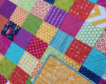 SALE Pretty patchwork cuddle quilt