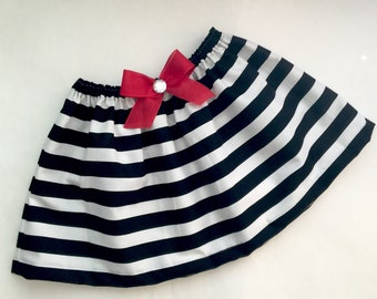 BOUTIQUE..striped SKIRT with red accents  ---girls clothing