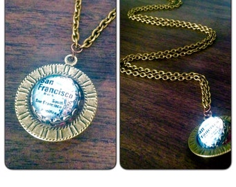 San Francisco Map Necklace//Solid Brass chain - Maps - Map Jewelry - Sf map California