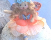 OOAK Forest Whimsy needle felted wool fairy doll apricot and blue