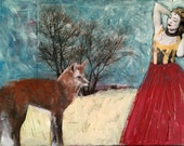 original  fox with woman painting Heather Murray