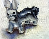 Little Donkey - OOAK Original Miniature Oil Painting