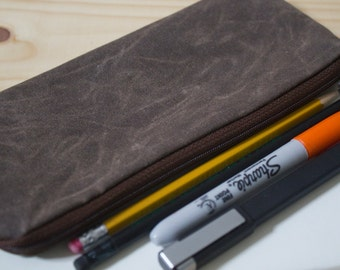 Waxed Canvas Zipper Case, Ideal for Cosmetics, Eyeglasses, Pencil, Pens and Stylus - Dark Oak