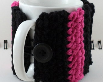 Crocheted Coffee or Ice Cream Cozy with Pocket in Black and Hot Pink Cotton with Black Button (SWG-E10)