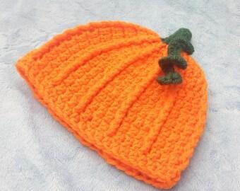 Crocheted Pumpkin Hat - 3-6M