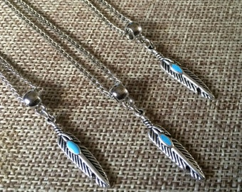 Feather Necklace / Silver Feather Necklace with Turquoise Detail / Silver Curb Chain / Mens Feather Necklace / Mens Jewelry
