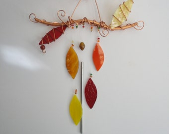 Falling Leaves, Fall Decor, Stained Glass, Copper, Autumn Wind Chime, Garden Art, Wall Hanging, Window Hanging, Porch Hanging, Nature, Tree