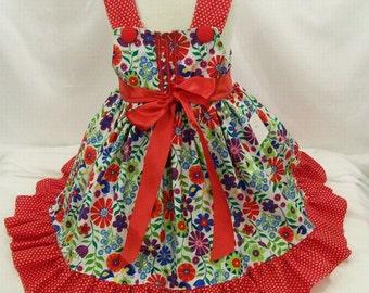Girls Jumper Dress, Red Floral jumper, Red  Dots Dress, Little Girls Dress, Handmade, Toddler Big Grl, Made in the USA, #591