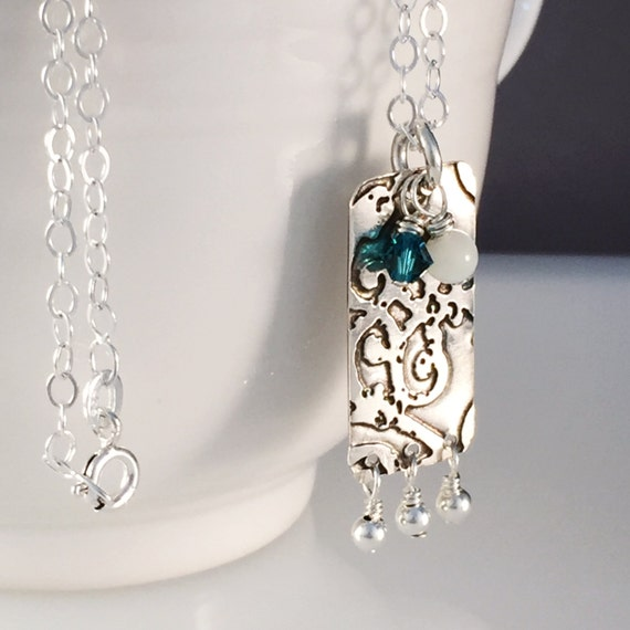 Sterling Silver Rectangle Pendant, Gifted Collection, Etched, Wire Wrap, Swarovski Crystal, Chain Necklace, Boho, Bridesmaid, Mom, Gift