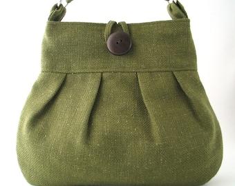 green handbag, crossbody messenger bag, cross shoulder bag, green tote bag ,fabric handbag, shoulder bag, green purse