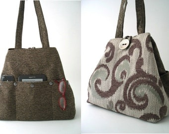 womens handbag, large handbag, brown shoulder bag, fabric handbag, brown tote bag, large tote,  hobo bag, diaper bag