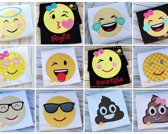 Emoji Applique Designs set of 12 4x4, 5x7, 6x10, 8x8