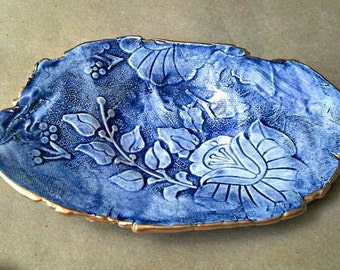 Ceramic Trinket Bowl Jewelry Dish  Damask edged in gold Delft Blue