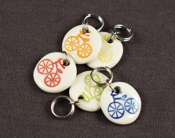 Rainbow Bike Porcelain Stitchmarkers Set of 5