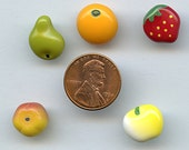 FRUIT SALAD Vintage glass buttons Set of (5) Hand Painted Variety Different NOS  MoRE AVAiLABLE 1811