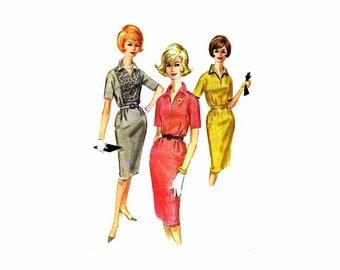 1960s Misses Sheath Dress McCalls 6081 Vintage Sewing Pattern Size 12 Bust 32 Uncut