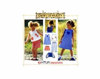 Girls Dress Top Capri Pants Shorts Bag Simplicity 7150 Sewing Pattern Size 5 - 6 - 6X UNCUT