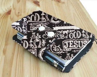 Religious print Personal size Travelers Notebook card slots  internal pockets pen loop snap closer