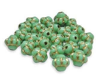 Czech Picasso Beads 6mm Gold Washed Opaaque Mint Green Small Saturn Czech Beads 25pcs (198) Czech Glass Beads