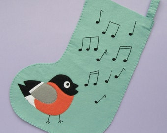 Bullfinch stocking, felt Christmas stocking with a singing bird