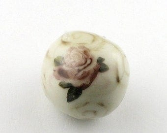 Rose Beads, handmade beads, porcelain beads, ceramic beads, Decal Beads, hand painted beads, pink beads, flower beads, floral beads