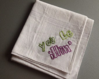 you be illin' - hand drawn and embroidered handkerchief