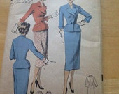Vintage 50s Advance 6656 American Designer Harry Frechtel Misses Skirt Suit Sewing Pattern size 12 B 30 Uncut