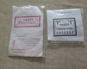 Set of 2 Jane Snead MERRY CHRISTMAS Cross Stitch Linen Samplers