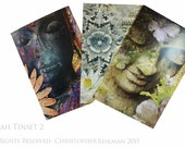 Tranquility Buddha Note Card Tin Set - 12 Buddha Note Cards by Christopher Beikmann - 3 Different Designs Made From Recycled Paper