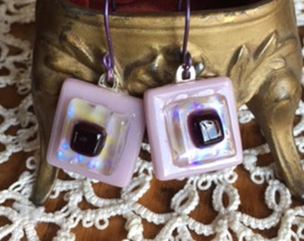 Square Lavender and Purple Dichroic Fused Glass Earrings With Purple Anodized Earwires