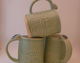 Midwife Mug, Lace, aqua