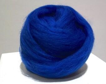 True Blue, Needle Felting Spinning Fiber, Merino roving, bright blue, cobalt, 1 oz w/ free samples, Nuno Felting