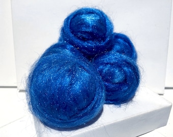 Sapphire, Sparkly Firestar, Needle Felting, Spinning Fiber, roving, blue, medium Blue .5 oz, similar to Icicle Top, ships free with wool