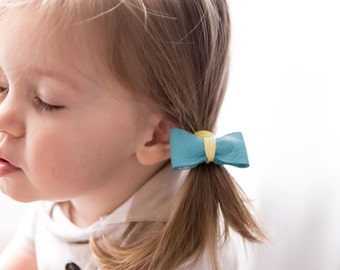 Sky Blue  Leather Bow Hair Tie