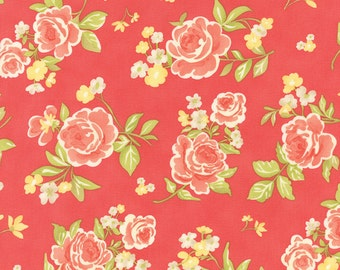1 fat quarter - Strawberry Fields Revisited - Summer Bouquet in Strawberry Red: sku 20260-11 cotton quilting fabric by Fig Tree for Moda