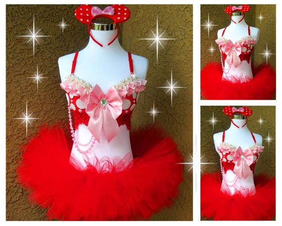 Pink Red Minnie Mouse Rave Outfit Rave Bra TuTu by VinylDolls