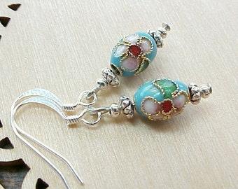 Easter Earrings Cloisonne Earrings Mini Easter Egg Earrings Cloisonne Bead Earrings Blue Egg Earrings Mini Faberge Egg Easter Basket Gift